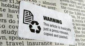 Warning label about newspaper content